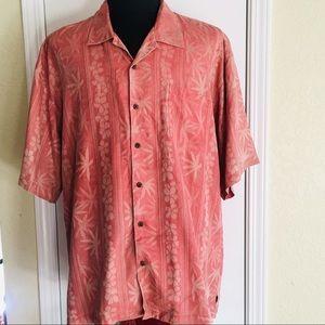 EUC Tommy Bahama 100% silk shirt men Red